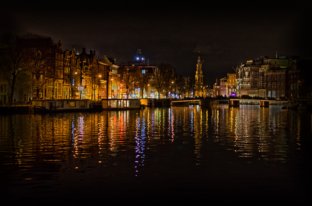 View across the Amstel towards Muntplein, Amsterdam