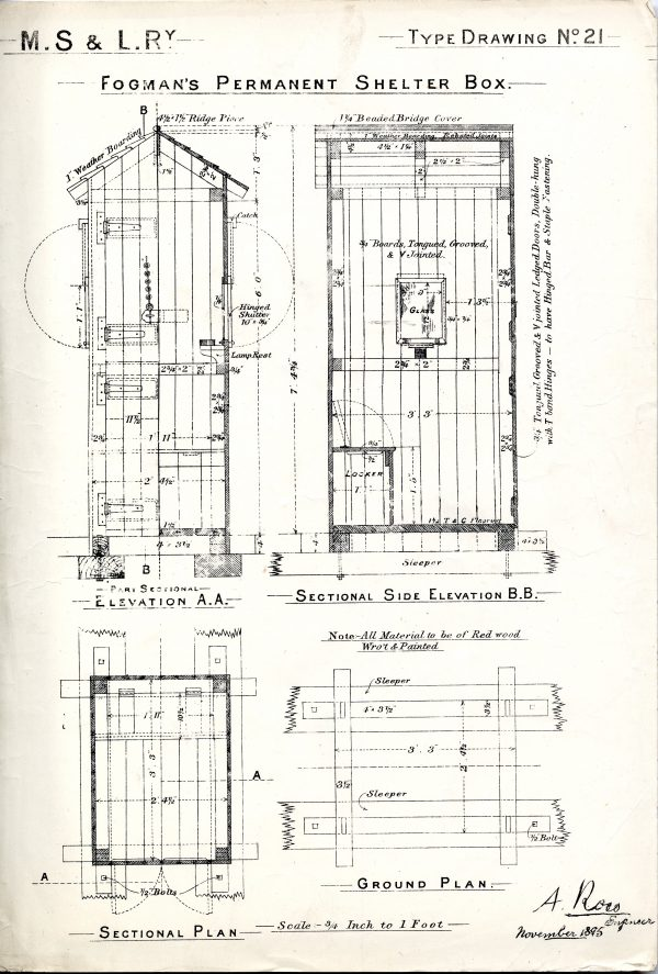 Line Drawing of MS&L Railway's Fogman's Permanent Shelter Box